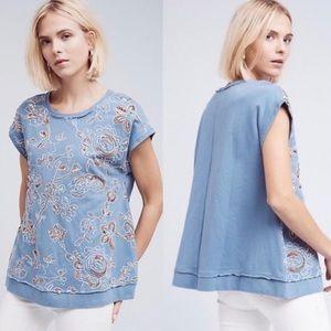 Anthro Akemi + Kin Sweatshirt Sequins Blue